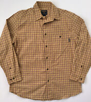 WOOLRICH Mens Yellow Long Sleeve Cotton Flannel Plaid Button Shirt Size M EUC