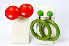 Bright & Shiny Vintage Orange & Green Bakelite Earrings - 22