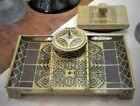 Vintage Erhard & Sohne Art Nouveau Brass & Wood Inlay Desk Set Inkwell & Blotter