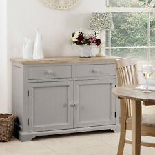 Florence Dove Grey Sideboard Large Kitchen Cupboard With Acacia Top Assembled