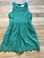 Euc Emerald Green Old Navy A Line Sleeveless Eyelet Dress Girls S 6 7 Years