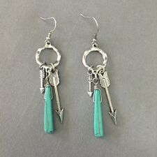 Silver Hammered Arrow Turquoise Design Bohemian Style Unique Earrings