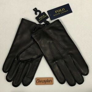 Polo Ralph Lauren Sheepskin Nappa Leather Touch Gloves 3M Thinsulate Black L