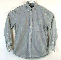 Tommy Hilfiger Mens Shirt Long Sleeve Button Down Gray Striped Size Medium EUC