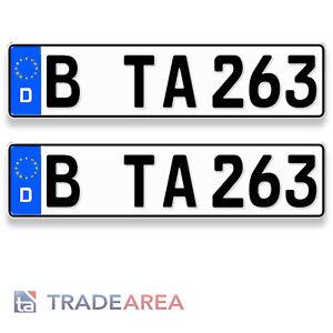 2 Standard Autokennzeichen   Nummernschilder Größe 460x110mm DIN-zertifiziert