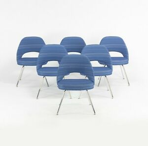 2020 6x Eero Saarinen for Knoll Executive Side Chair with Blue Striped Fabric