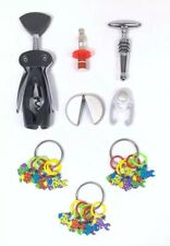 Lot of Wine Charms, Toppers, Cutters and Openers Silicone Fish Colorful Tags
