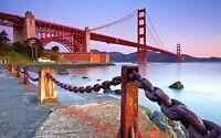 COAST GOLDEN GATE BRIDGE NEW A3 CANVAS GICLEE ART PRINT POSTER FRAMED