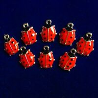 12Pcs 11X8X2mm Red Carved Tibetan Silver Ladybug Pendant Bead D42079