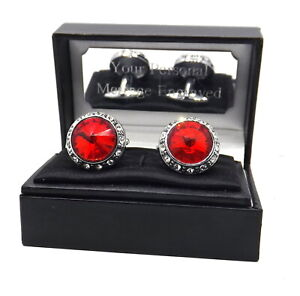 Large Cufflinks with Ruby Red Swarovski crystals in a personalised gift Box