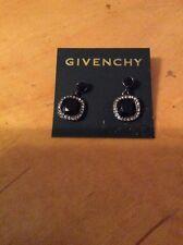 $48 Givenchy Swarovski Pave Drop Black Earrings #349 C GE