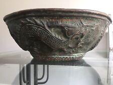 Antique Asian oriental bronze metal bowl, dragon design 34 Cm Interior Design