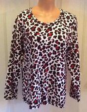 CJ BANKS, Plus Size 14W, Animal Print, Long Sleeve, Cotton/Spandex Top.  NEW.