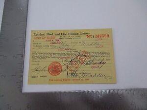 Vintage 1938 Illinois Resident Hook & Line Fishing License Chas J Madden S2606