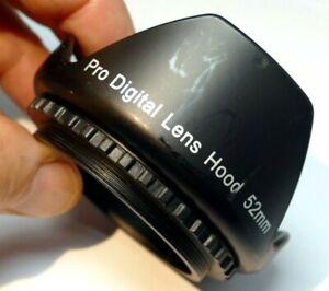 Pro Digital 52mm Petal Shaped Plastic Lens Hood screw in type for 18-55mm zoom