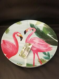 "Tommy Bahama Melamine 11"" Dinner Plates Pink Flamingo Palm Tropical Set Of 4"
