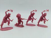 Lot of (4) Vintage Pink Indian Plastic Figures Similar Marx's Toys Playset