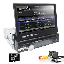 "7"" 1 DIN Car DVD CD Player GPS Nav Flip Out Radio RDS USB SD MP3 BT Touch Screen"