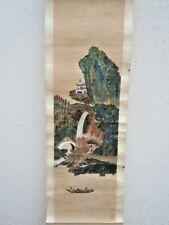 Peinture sur soie Kakemono Kakejiku décor riviere colline estampillée
