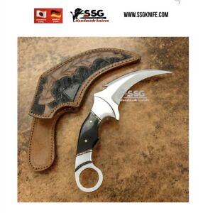 "12""Custom  D2 hunting knife forged  Steel with Tinted Art Bone Karambit"