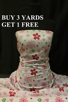 OFFER Flowers Green/Pink Flower Cotton print fabric material dress-making crafts