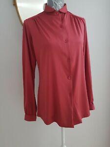 Vintage 80s Parigi Satin Blouse Shirt Wine Long Sleeve Slim Collar Size 12-14