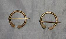 "Set of (2) 1"" Handmade Solid Brass Cloak/Blanket/Coat Pins-1700/Mountain Man-NEW"