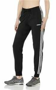 NWT Women's Adidas Essential Black 3 Stripe French Terry Jogger Pants Size Small