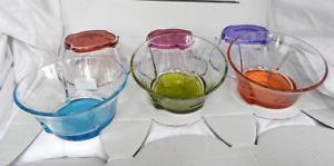 Designer Set Six Glass Dessert Bowls  / Dishes with Multi Coloured Bases - BNIB