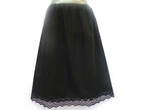 Waist Long Slips Ladies Black Underskirt Petticoat 28in Plus size 16 18 20 22