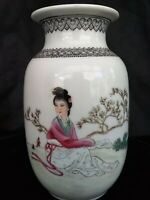VINTAGE CHINESE Vase 1912-49 Seated Pink Green Maiden POEM PORCELAIN VASE