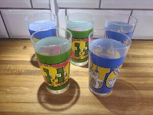 5x Vintage Looney Tunes Bugs / Tweety Pie Glasses / Tumblers
