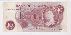 BANK OF ENGLAND 10/- TEN SHILLINGS BANKNOTE FAIR CONDITION FFORDE C97N 778997
