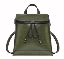 Girls Leather Backpack, Green