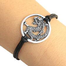 Silver Tone Round Dragon Charm Bracelet Lucky Friendship Bracelet