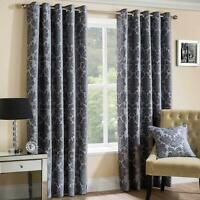 Grey Eyelet Curtains Lined Chenille Park Lane Damask Ring Top Curtain Pairs
