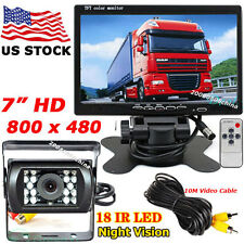 "Bus Van Truck Reverse Rear View IR Backup Camera Kit +7"" TFT LCD Monitor 12V-24V"