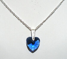 "'AAA' GRADE BLUE CRYSTAL GLASS HEART PENDANT 18"" SILVER PLATED CHAIN"