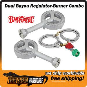Dual Burner Regulator Combo 10 PSI 50K BTU Each Homebrewing Boiling Frying