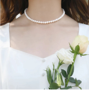 Pearl Imitation White Beige String Strand Beaded Necklace Elegant Women UK