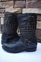 BED:STU  Whacky Rock Star  BIKE women'S boots Hand made BLACK US 7 7.5 EUR 37
