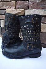 BED:STU  Whacky Rock Star  BIKE women'S boots Hand made BLACK US 7 EUR 37