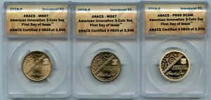 2018-P,D,& S $1 American Innovation Inaugural ANACS MS67/MS69(S) 3 Coin Set