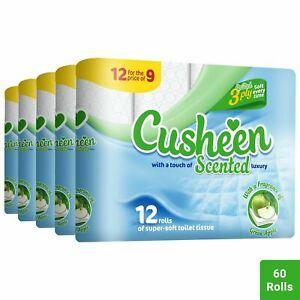 60 Rolls (5pkx12 Rolls) Cusheen Green Apple Scented Toilet Tissues Luxury Rolls