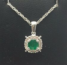 Sterling Silver 925 Faceted Round Green Emerald CZ Halo Petite Necklace 18""