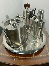 Godinger Stainless Steel Ice Bucket Shaker Seven Piece Cocktail Martini Silver