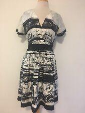 Classiques Entier Womens Dress sz 4 Silk Black White Short Sleeve A Line Gw30