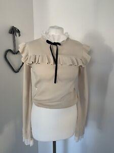 Zara Beige Jumper Frill White Collar Cuffs Black Bow L 10 12 Bloggers