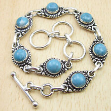 925 Silver Plated Beautiful Simulated LARIMAR 7 Gemstone Bracelet 8 Inch