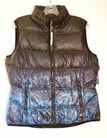 NWT $88 Andrew Marc Packable Puffer Vest w/Hood, Nocturnal Ombre Black & Blue, L